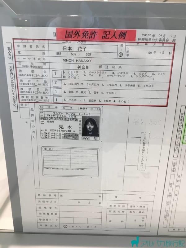 国際免許の申請書の記入サンプル