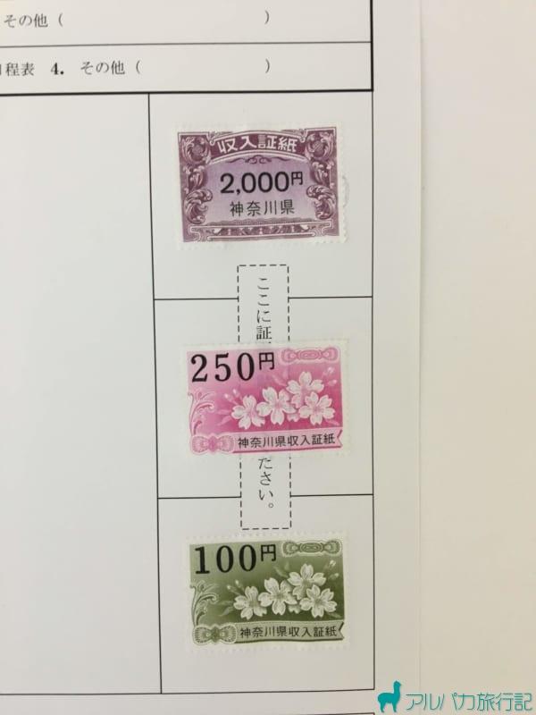収入印紙の貼り付け方