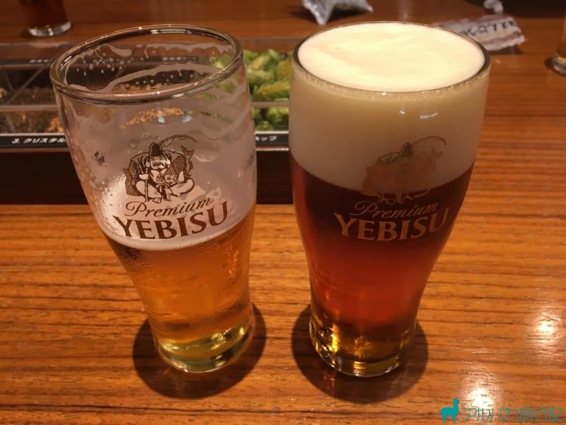ヱビスビール記念館での試飲タイムその2。琥珀エビス