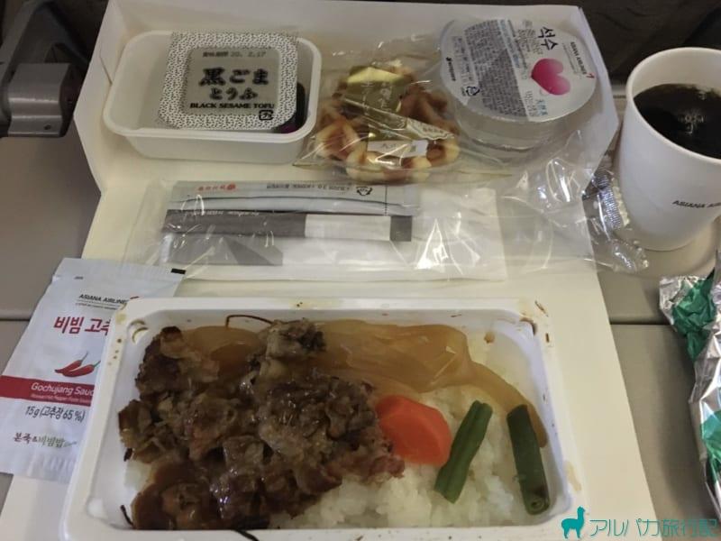 羽田から仁川に向かう際のOZ 177の機内食